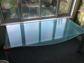 2M long Italian designer large office desk 13mm toughened glass 4 steel/wood leg