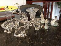 Variety of crystal figures plus Belleek Vase