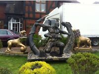 LIFE SIZE BESPOKE WARRIOR & DRAGON SCULPTURE