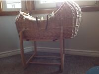 Wicker Pod Moses Basket