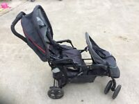 Grace twin buggy. Excellent condition. With foot muffs.