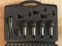 Drum mic set with clips in case