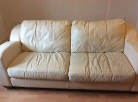 Leather sofas x 2 both 3 sweaters and excellent quality cream colour