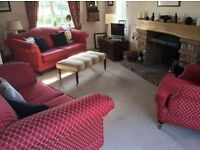 Red fabric 2 and 3 seater sofas