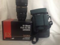 Sigma 15-30mm f3.5-4.5dg lens,Canon Fit,vgc Reduced to £175.00
