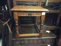 Vintage solid oak side table with drawer
