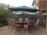 Garden Table, Chairs and Parasol