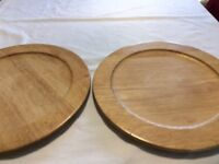 Wooden serving platters, great for round dinner plates.