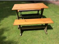 Heavy Duty Solid Pine Table plus 2 Bench Seats