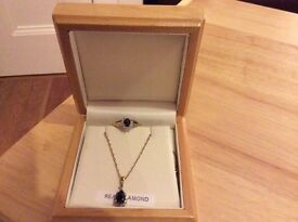 9ct sapphire ring and sapphire necklace for sale