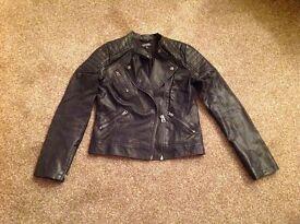 Black leather Topshop jacket size 10