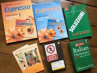 Set of 8 Italian Language text books, Dictionary and Espresso CD Audio Courses