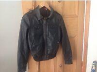 Ladies/ girls black leather jacket. H&M small