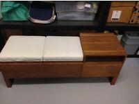 Dwell walnut storage bench wih two faux leather seats