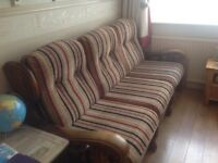 3 seater sofa and 2 matching chairs solid carved wood