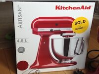 Red KitchenAid Artisan 4.8l stand mixer