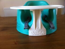 Turquoise Blue Bumbo with table and harness