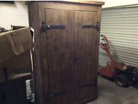 Double Bedroom wardrobe in mahogany,also selling 2x bedside tables,4 poster bed,drawers,all solid,