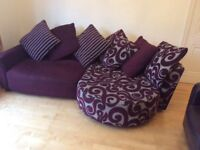Purple DFS, L shaped sofa in good condition