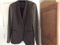 Zara tweed mix jacket. 12/14 fit. Length 77cm.
