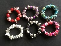 6 Shell/Bead Bracelets