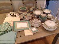 Large dinnerware set / crockery / plates / bowls / wine glasses / place mats / dining