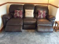 Brown leather power recliner settee