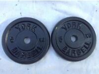 6 x 5kg York Standard Cast Iron Weights