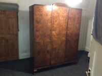 A stylish wardrobe walnut 1930-s in excellent condition