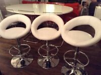 3 Faux leather white barstools excellent condition