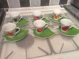 Set of 6 espresso cups and saucers