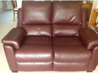 2 year old Parker knoll two seate leather sofa in Conker £200
