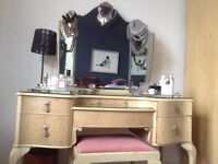 Vintage 3 piece cream bedroom furniture set - dressing table and 2 wardrobes