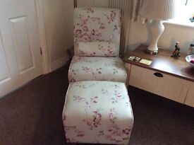 Chaise Lounge Style Matching Chair and Footstool.