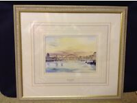 Framed Picture of Newcastle Upon Tyne bridges over River Tyne