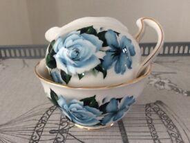 Queen Anne Bone China Milk Jug and Sugar Bowl. Blue Floral.