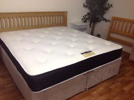 6 FT SUPER KINGSIZE BED WITH MEMORY FOAM MATTRESS AND DRAWERS WITH SOLID OAK HB