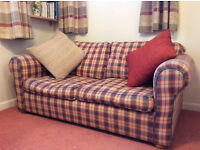 Check pattern double sofa bed