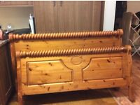 Solid pine king size bed frame , good condition