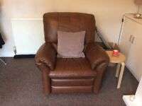 Leather sofa, Electric recliner Armchair and Ottoman pouffe!