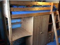 High sleeper with wardrobe,drawers,desk & shelves underneath