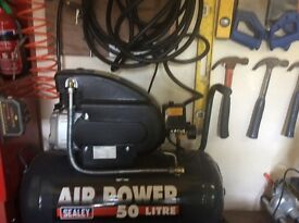 50 LITRE SEALEY AIR COMPRESSOR PLUS OTHER TOOLS