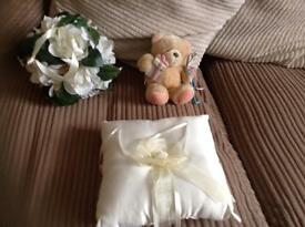 Wedding ring pillow/wedding flowers ball bouquet/small teddy