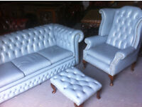 Blue leather 3 seater chesterfield sofa, wing back chair and footstool