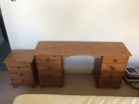 Pine dressing table and side table in good condition and pine mirror