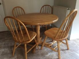 Beechwood table and 4 chairs