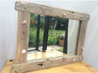 Driftwood mirror hand made of Celtic driftwood 60cm wide X 42cm long.