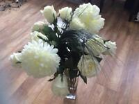 Marks & Spencer's white roses mix artificial flowers plus huge glass vase was £150 gorgeous display