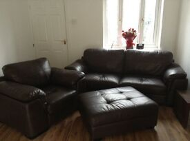Chocolate brown leather 3 seater settee, armchair and footstool