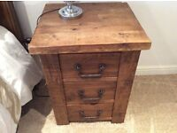 2x bedside tables with drawers also selling Double wardrobe mahogany also drawers and 4 poster bed